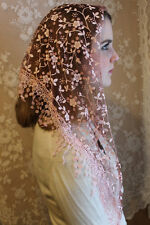 NEW Classic Mantilla Coffee Rose Embroidered Chapel Veil Triangle Free Ship