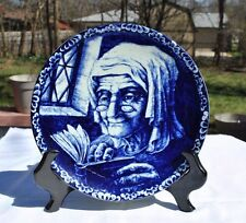 Belgium BOCH Delft Blue Decorative Wall Plate - Old Lady Reading