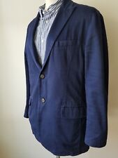 Etro Men's Navy Blue Two Button Linen Blazer Sport Jacket US Size L