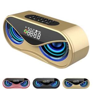 Wireless Bluetooth 5.0 Portable Speaker Alarm Clock FM Radio LED HiFi Subwoofer