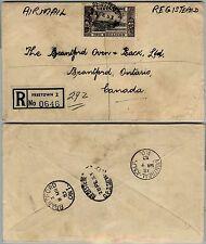 SIERRA LEONE 2S-Raccomandata aerea Freetown->Brantford(Canada) 28.2.1953