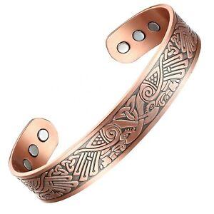 Viking Odins Ravens Copper Magenergy 6 Magnets Health Arthritis Bracelet-2 Sizes