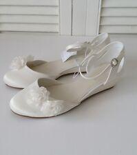 BNWT DEBENHAMS Ivory Satin Floral Applique Wedge Shoes Bridal Bridesmaid UK 6