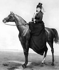 Equestrian Print c19th Victorian Lady Side Saddle Mount Riding Habit Hat & Dress