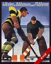 VINTAGE HOCKEY IN BOHEMIA CZECH VACATION TRAVEL AD POSTER ART REAL CANVAS PRINT