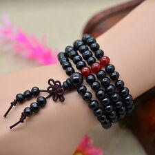 Hot Black 108 wood Buddhist Buddha Meditation Prayer Bead Necklace Bracelet