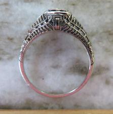 18K ANTIQUE VINTAGE ART DECO FLORAL FILIGREE OLD CUT DIAMOND ENGAGEMENT RING