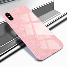 For Apple iPhone X 7 8 6S 6 Plus Marble Patterned Tempered Glass Back Cover Case