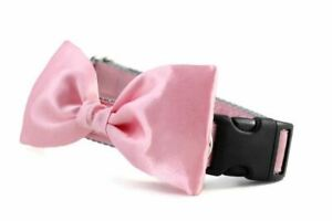 Pink Satin Bow Tie Dog Collar