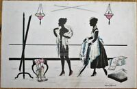 Risque Silhouette 1920 Manni Grosze/Artist-Signed Postcard: Nude Woman & Maid