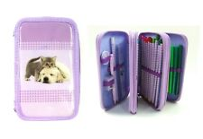 Purple Puppy & Kitten Triple Layer Pencil Case Set Filled 43 Piece 3 Tier