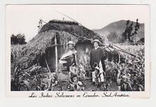 RPPC,Salasaca,Ecuador,Quichua Salasaca Indians,Hut & Crop,Used 2 Ecuador Stamps