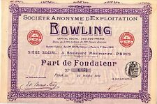Action au porteur - Société Anonyme d'exploitation du Bowling- Part de fondateur