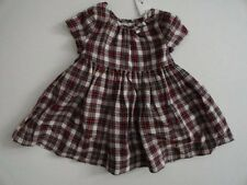 NWT Baby Gap 0-3 Months Red Plaid Bow Dress Short Sleeve New