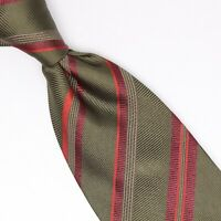 Gladson Mens Silk Necktie Green Burgundy Red Multi-Stripe Weave Woven Tie Italy