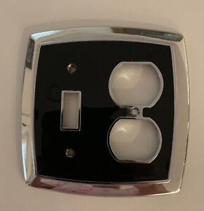Vintage Mid-Century Art Deco CHROME  BLACK Light Switch COVER TOGGLE DUPLEX