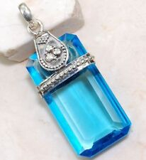 Exquisite 925 Silver Rectangle Blue Topaz Gemstone Pendants Engagement Jewelry