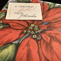 """#1966🌟Vintage 40s """"Christmas HELLO From FLORIDA"""" Poinsettia Greeting Card"""