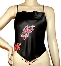 New 100% Silk black red sexy TOP shirt open tie back beads spaghetti strap S / M
