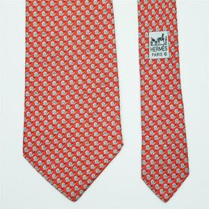 HERMES TIE 5628 EA Snail on Orange Red Classic Silk Necktie