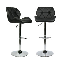 Set of 2 Bar Stool Black Counter Height Adjustable Swivel Chairs Bar Home Bistro