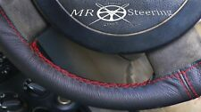 FOR PEUGEOT 207 2006-12 TRUE LEATHER STEERING WHEEL COVER DARK RED DOUBLE STITCH