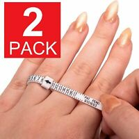 2-Pack Ring Sizer Measure Tool Gauge Plastic Finger Sizing Finder Reusable 1-17