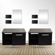 "28"" Bathroom Vanity Wall Mount Floating Cabinet Sink Mirror Shelf Espresso Black"