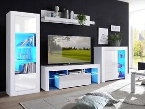Living Room Set LED TV Unit Display Cabinet Cupboard Matt Body High Gloss Door