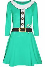 Womens Christmas Elf Santa's Little Helper Belt Costume Xmas Ladies Swing Dress