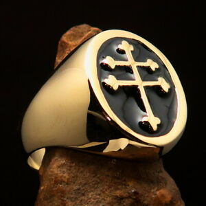 Perfectly crafted Mens Resistance Ring Two Barred Cross Lorraine Black