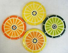 CITRUS FRUIT SLICES Mosaic Handmade Ceramic Tile Stoneware Coasters   Set of 4