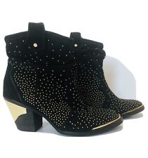 Gianni Bini Black Gold Rhinestone Studded Booties Ankle Boots Size 6