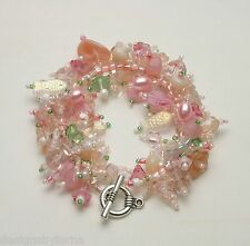 "Bracelet Bead Kit ""Cotton Candy"" Pink crystal & glass beads Fringe Magic New!"