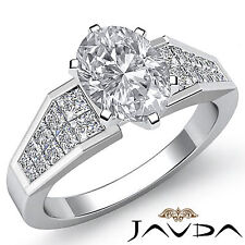 Classic Oval Shape Diamond Engagement Prong Invisible Set Ring GIA F VS2 1.78Ct