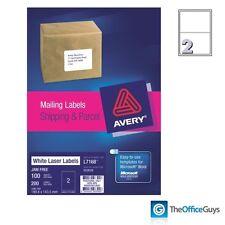 AVERY® L7168 White Laser Labels 199.6 x 143.5mm 2/Sheet, Box 100 (959008)