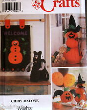 Halloween pattern primitive applique pumpkin banner Cat