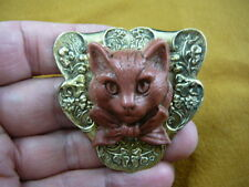(Cl52-23) Kitty cat kitten large brown Cameo Pin Pendant Jewelry brooch