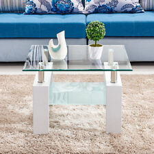 White Glass Coffee Table High Gloss Leg Side End Table Square Living Room 2 tier