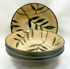 Gibson Elite Midnight Palm Coupe Soup Bowls x4 Black & Cream Leaves