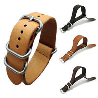 Men Genuine Leather Army Military Buckle Watch Band Strap 18mm/20mm/22mm Hot