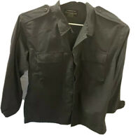 Tact Gear Mens Military Button Up Shirt Gray Long Sleeve Collared Flap Pockets L
