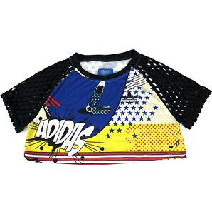 RITA ORA x ADIDAS T-Shirt Super Comic Print Cropped Cutout Mesh Sleeves Size XS