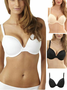 Womens Full Coverage Molded Foam Padded Underwired Plunge T-Shirt Soft Cup Bra
