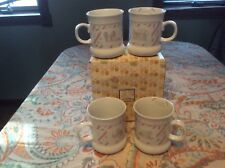 1989 Enesco Precious Moments Mugs, Set of 4, Christmas Theme, Pastel Colors