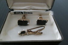Vintage Swank Gold-Filled Genuine Onyx Cuff Links and Tie Clip