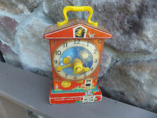 1960's Vintage FP Fisher Price Music Box Teaching Clock Toy Musical Works #998