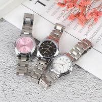 Women Ladies Pink Dial Dress Watches Waterproof Steel Band Analog Quartz Watches