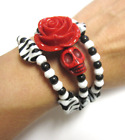 Rose And Sugar Skull Bracelet Day Of The Dead Halloween Jewelry
