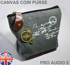 Small Canvas Coin Purse Zip Pouch - With Retro Bicycle Penny Farthing Badge UK